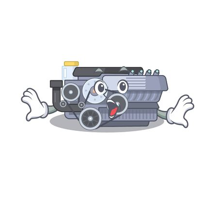 Combustion engine cartoon character design on a surprised gesture. Vector illustration
