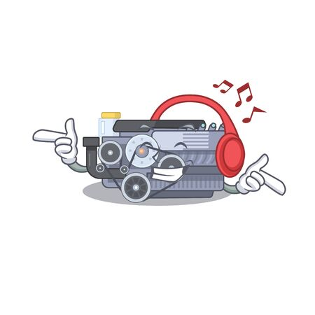 Listening music combustion engine mascot cartoon character design. Vector illustration Ilustração