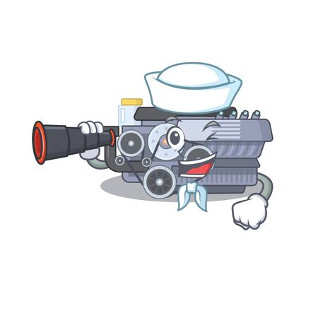 Combustion engine cartoon happy Sailor style with binocular. Vector illustration Ilustração