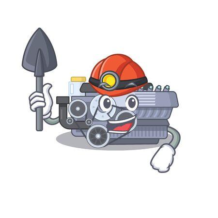 Cool clever Miner combustion engine cartoon character design. Vector illustration