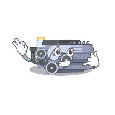 Call me funny combustion engine mascot picture style. Vector illustration