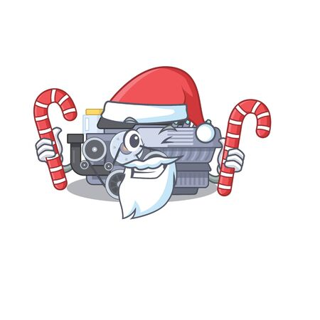 Combustion engine Cartoon character in Santa costume with candy. Vector illustration