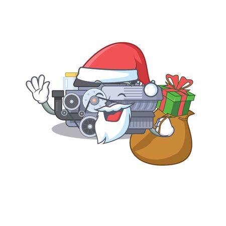 Santa combustion engine Cartoon character design having box of gift. Vector illustration Illustration