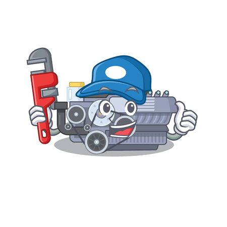Cool Plumber combustion engine on mascot picture style. Vector illustration