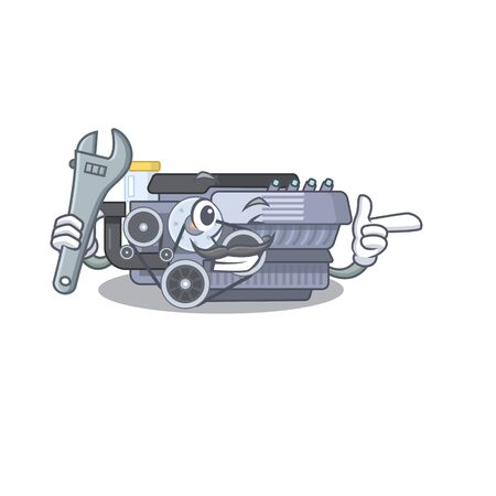 Smart Mechanic combustion engine cartoon character design. Vector illustration