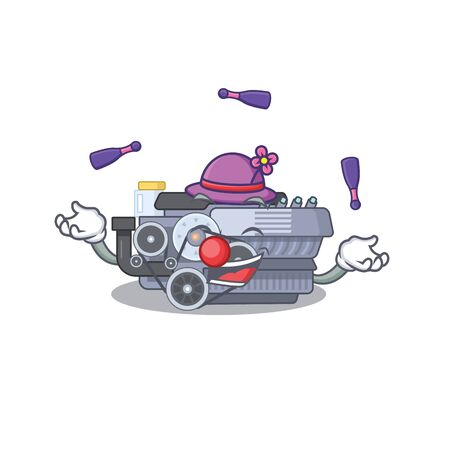 Smart combustion engine cartoon character design playing Juggling. Vector illustration