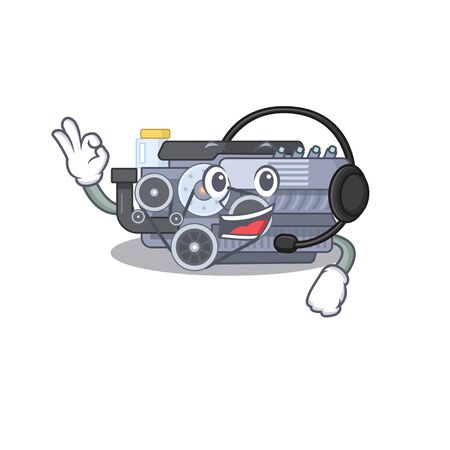 Smiley combustion engine cartoon character design wearing headphone. Vector illustration