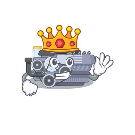 A stunning of combustion engine stylized of King on cartoon mascot style. Vector illustration Ilustração