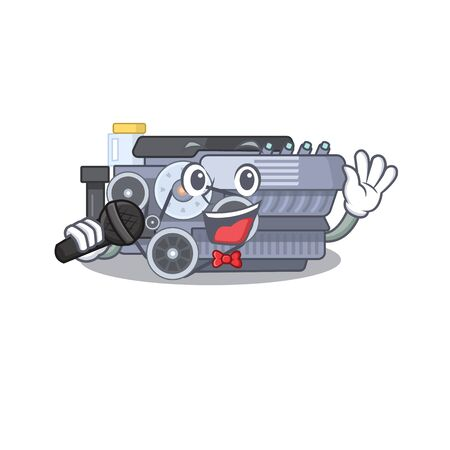 Happy combustion engine singing on a microphone. Vector illustration