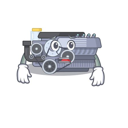 A picture of combustion engine showing afraid look face. Vector illustration
