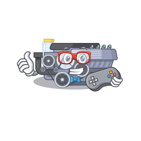 Smiley gamer combustion engine cartoon mascot style. Vector illustration