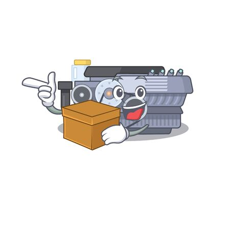 Cute combustion engine cartoon character having a box. Vector illustration Ilustração
