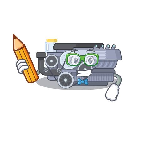 A picture of Student combustion engine character holding pencil. Vector illustration Ilustração