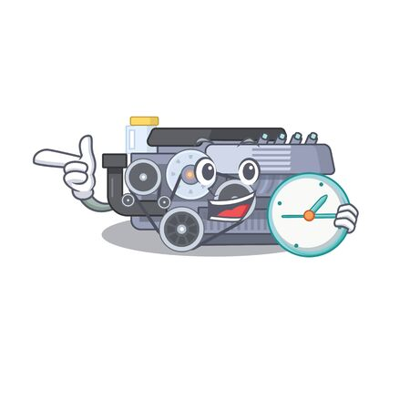 cartoon character style combustion engine having clock. Vector illustration Ilustração