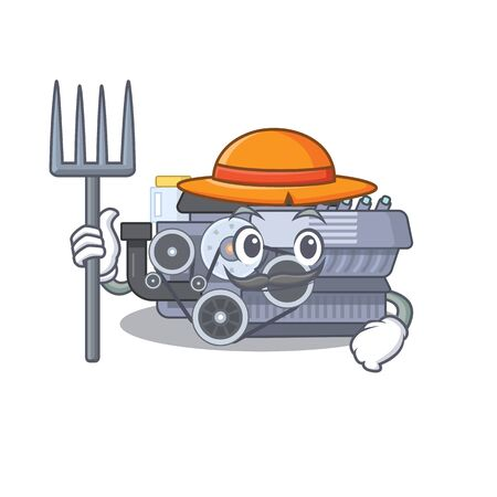 Cheerfully Farmer combustion engine cartoon picture with hat and tools. Vector illustration