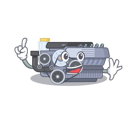 One Finger combustion engine in mascot cartoon character style. Vector illustration Ilustração