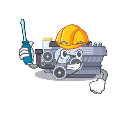 Cool automotive combustion engine in cartoon character style. Vector illustration