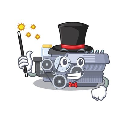 A picture of combustion engine performance as a Magician. Vector illustration