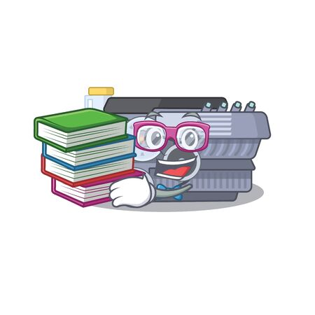 Cool and clever Student combustion engine mascot cartoon with book. Vector illustration