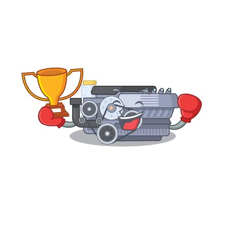 fantastic Boxing winner of combustion engine in mascot cartoon style. Vector illustration