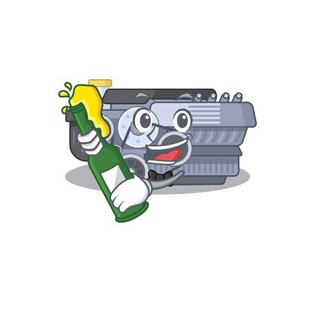 mascot cartoon design of combustion engine with bottle of beer