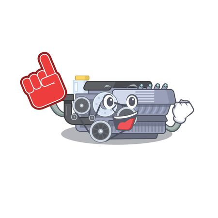 Combustion engine mascot cartoon style holding a Foam finger