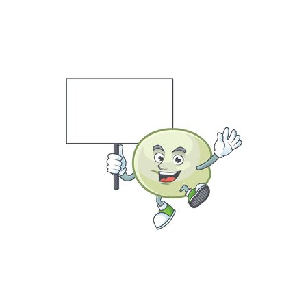 An icon of green hoppang cartoon character style bring board Illustration