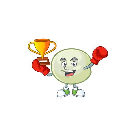 fantastic Boxing winner of green hoppang in mascot cartoon style Archivio Fotografico - 138337109