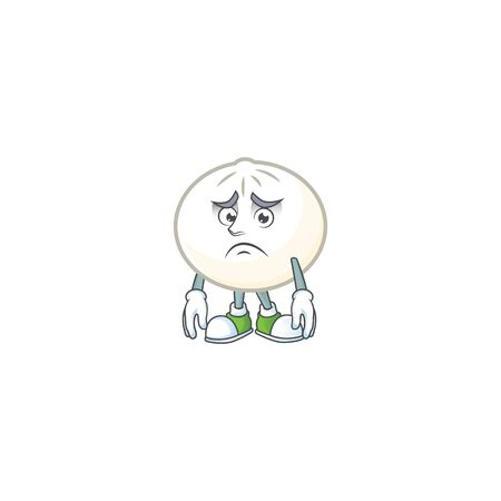 A picture of white hoppang showing afraid look face. Vector illustration