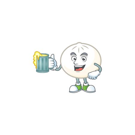 Happy white hoppang mascot design with a big glass Ilustração