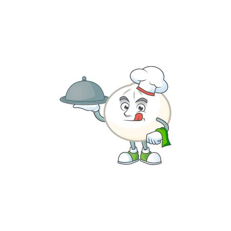 cartoon design of white hoppang as a Chef having food on tray Illustration