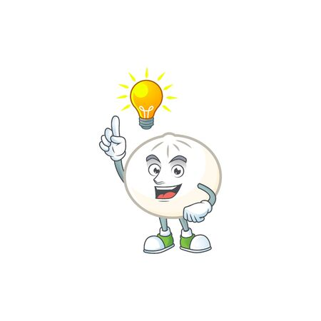 Have an idea gesture of white hoppang cartoon character design. Vector illustration