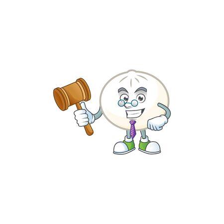 Smart Judge white hoppang in mascot cartoon character style