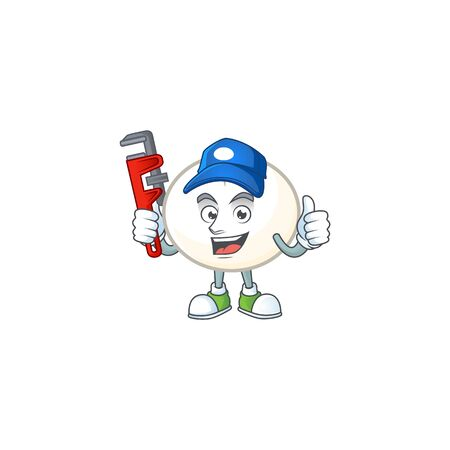 Cool Plumber white hoppang on mascot picture style Ilustrace