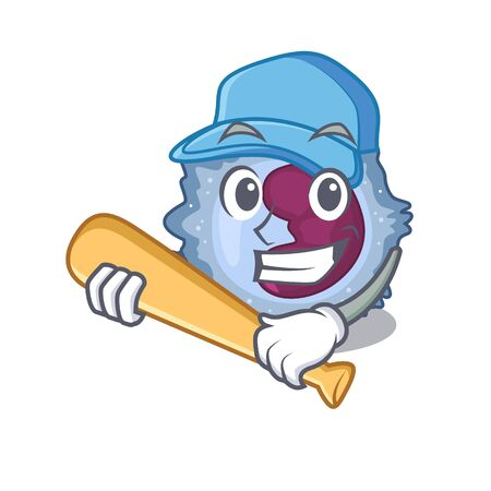 Sporty monocyte cell cartoon character design with baseball Vector Illustration