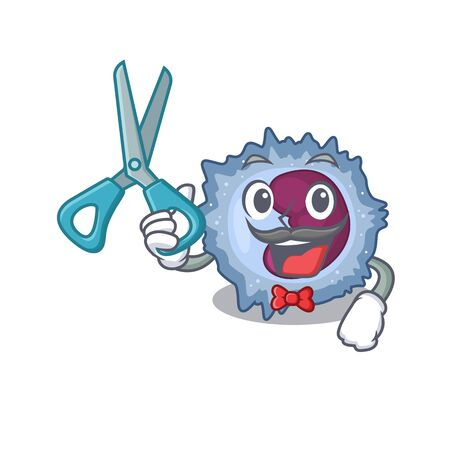 Smiley Funny Barber monocyte cell cartoon character design style Vector Illustration