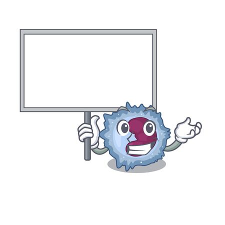 A cute picture of monocyte cell cute cartoon character bring a board. Vector illustration