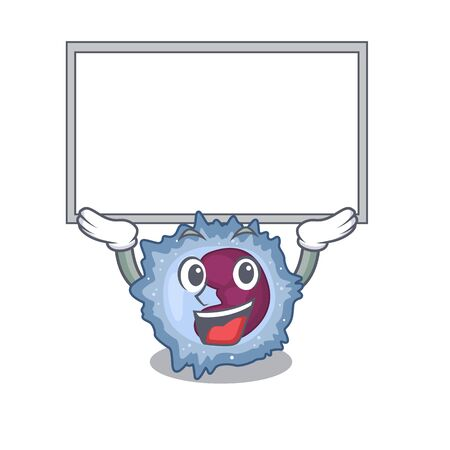A mascot picture of monocyte cell raised up board. Vector illustration Vector Illustration