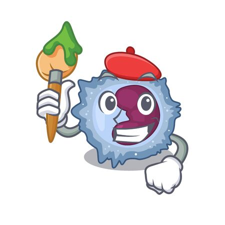 Cartoon character of monocyte cell Artist with a brush Vector Illustration