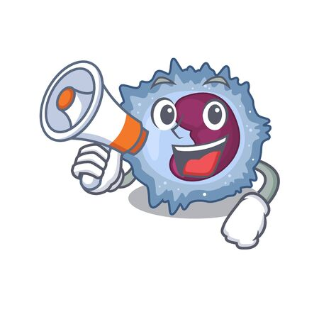 An icon of monocyte cell having a megaphone. Vector illustration