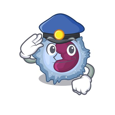Monocyte cell Cartoon mascot performed as a Police officer