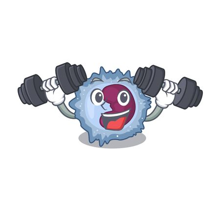 Sporty Fitness exercise monocyte cell using barbells. Vector illustration