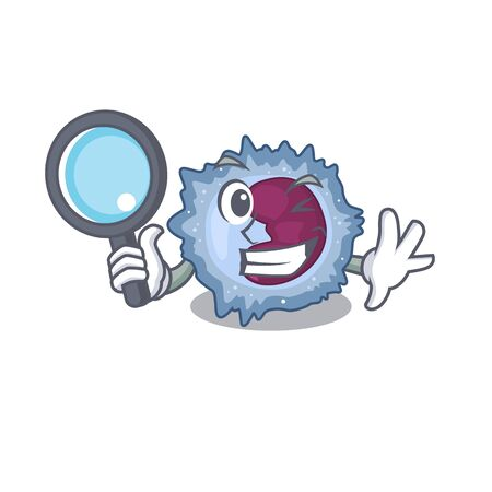 Cool and Smart monocyte cell Detective cartoon mascot style Vector Illustration
