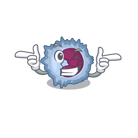 mascot cartoon design of monocyte cell with Wink eye Vector Illustration