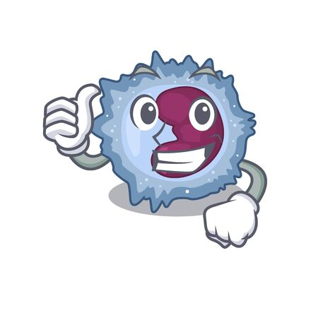Cheerfully monocyte cell making Thumbs up gesture Vector Illustration
