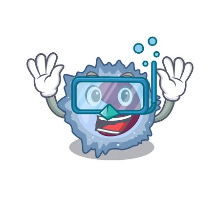 cartoon character of monocyte cell wearing Diving glasses Vector Illustration