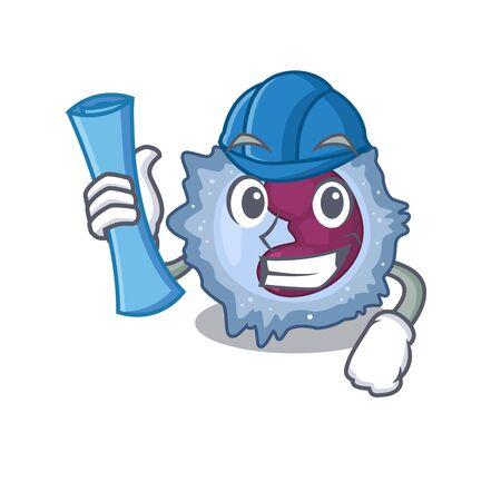 Elegant Architect monocyte cell having blue prints and blue helmet. Vector illustration Vector Illustration