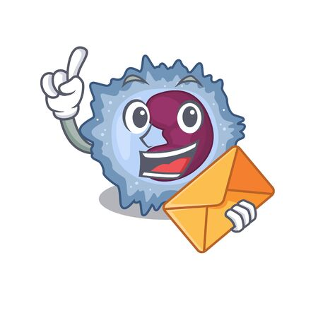 Cheerfully monocyte cell mascot design with envelope Vector Illustration