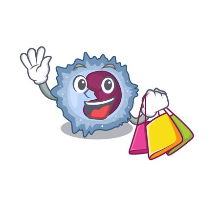 A happy rich monocyte cell waving and holding Shopping bag