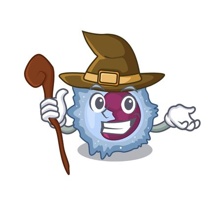 cartoon mascot style of monocyte cell dressed as a witch Illustration